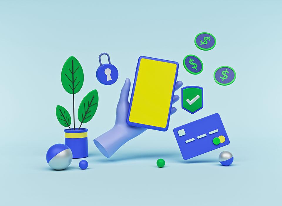 diseño de dibujos animados. pago móvil, pago con tarjeta en línea, concepto de transferencia digital de dinero. mínimo. Representación 3d