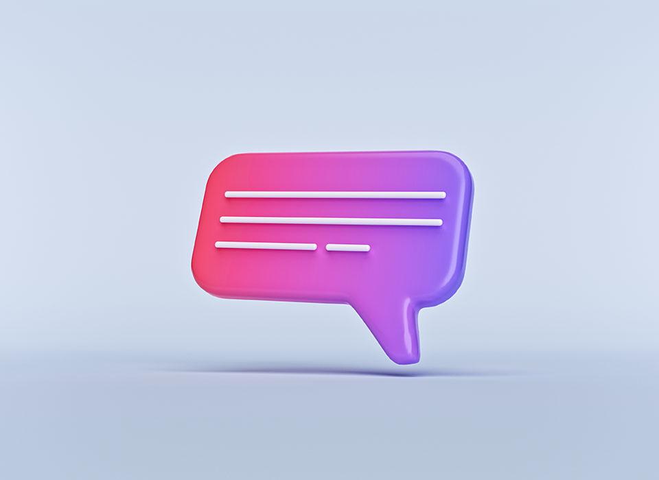 Escribir en un icono de chat aislado en fondo pastel. símbolo de signo de comentario. Representación 3d