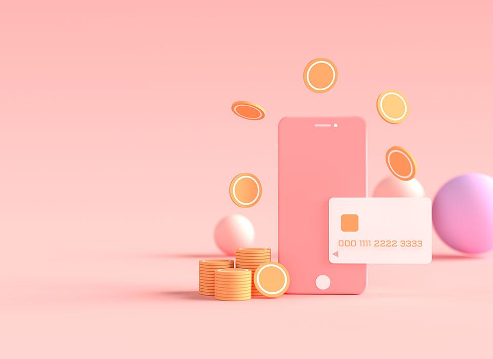 Pago 3D a través del concepto de tarjeta de crédito. Transacción segura de pago en línea con smartphone. Banca por Internet a través de tarjeta de crédito en el móvil. fondo flotante del objeto.