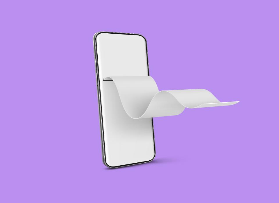 Teléfono móvil con factura financiera de papel en la vista frontal y angular. Concepto de pago en línea, factura digital y cheque de pago. Vector de simulación realista de smartphone con cinta de verificación en blanco