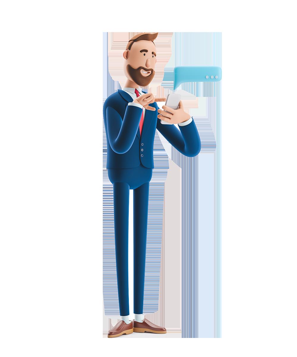 El personaje de caricatura envía un mensaje desde el teléfono. Ilustración 3d.