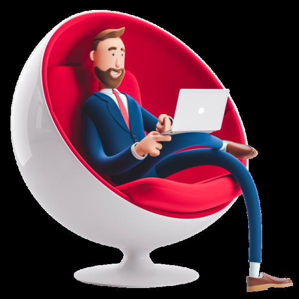 Guapo personaje de caricatura Billy sentado en una silla de huevo con portátil. Ilustración 3d