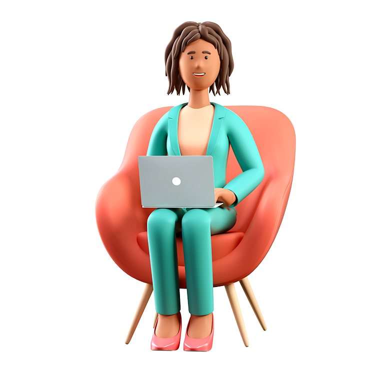 Ilustración en 3D de una sonriente mujer afroamericana con una laptop sentada en un sillón. Cuta caricatura elegante mujer de negocios que trabaja en el cargo y usa las redes sociales, aislada de fondo blanco.