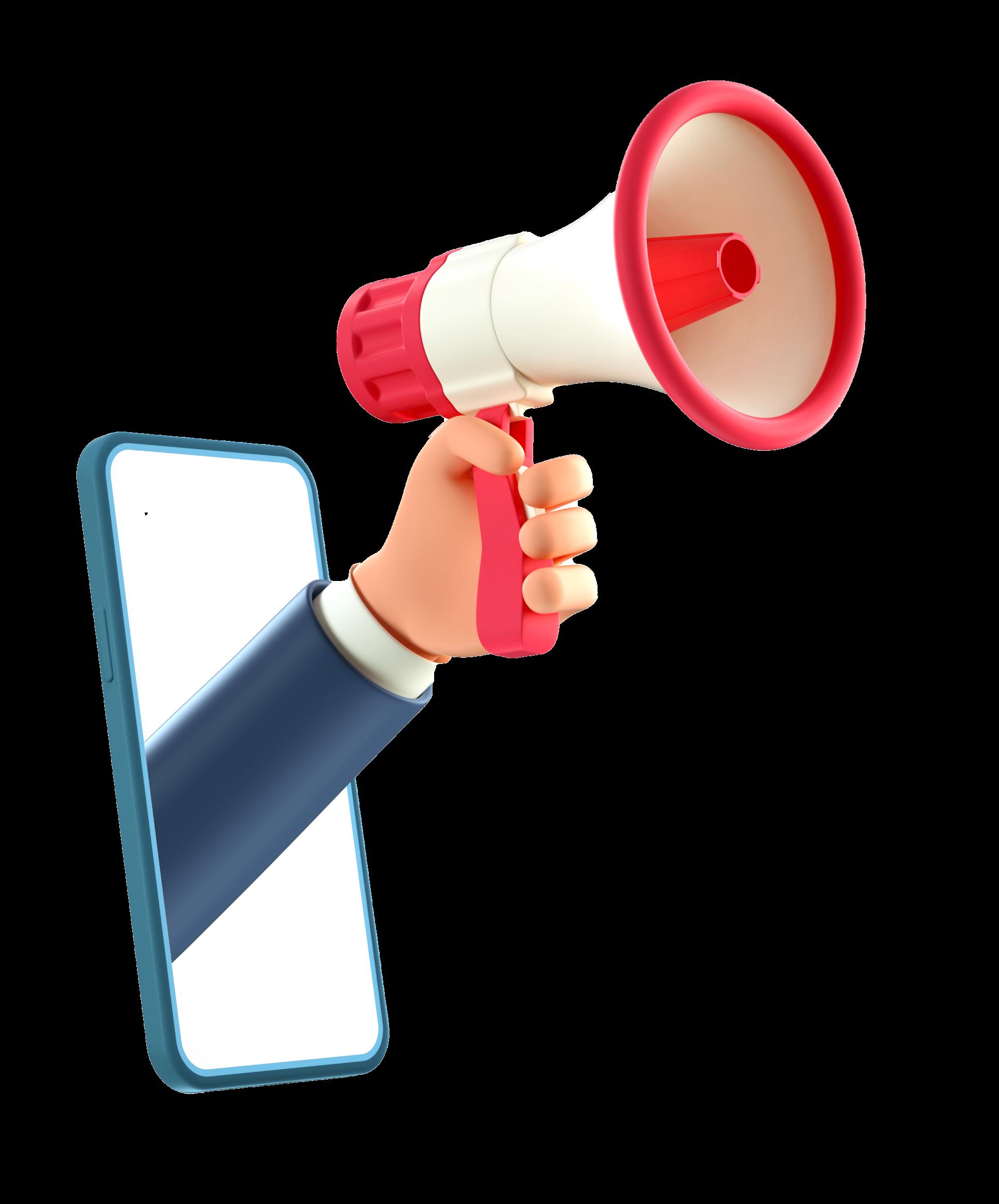 ilustracion 3d de brazo saliendo de pantalla de celular con una bocina