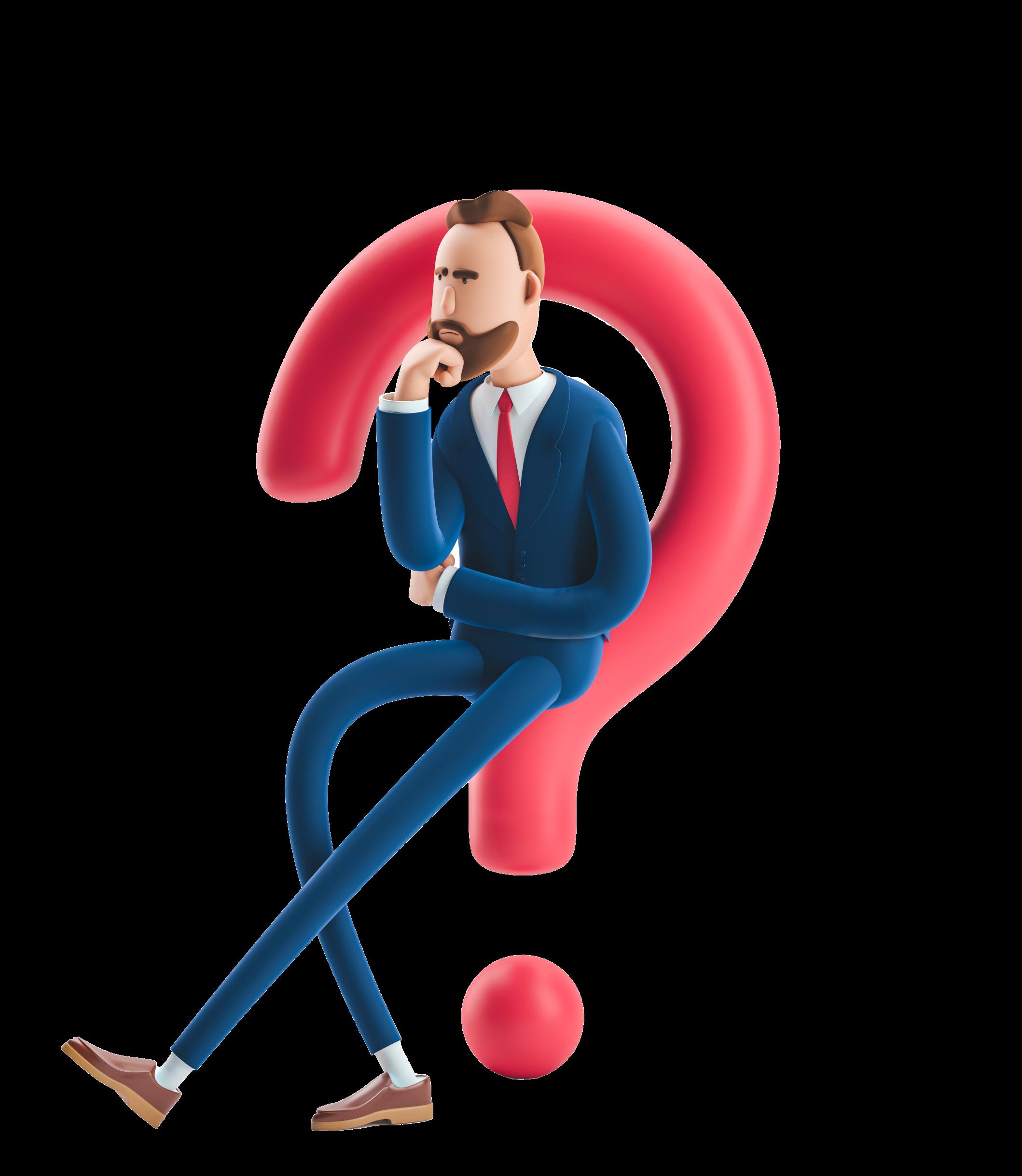 ilustracion en 3d de hombre sentado sobre signo de interrogacion